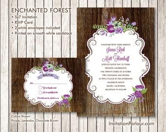 Enchanted Forest Rustic Wood Wedding Invitation Set - Printed - Customizable