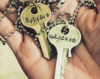 Hand Stamped Key Necklaces
