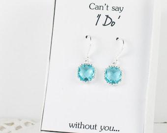 Aquamarine Silver Earrings, Blue Square Earrings, Bridesmaid Earrings, Bridesmaid Gift, Blue Wedding Accessories, Aquamarine Wedding Jewelry