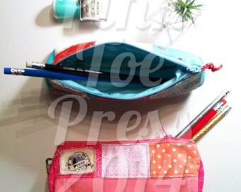 Pink Pencil Pouch // retro // Makeup Bag // Lined and Quilted //PRETTY IN PINK