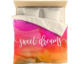 watercolor sweet dreams  Duvet Cover, orange pink watercolor duvet cover, bedroom decor