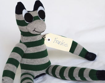 Sock frog, sock animal, softie, plush toy sock monkey. Frankie Frog.
