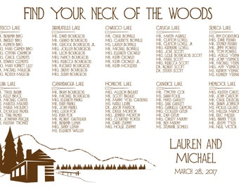 Lake Cabin Seating Chart Digital Design Printable PDF Custom Personal Poster Print File ONLY River other colors available