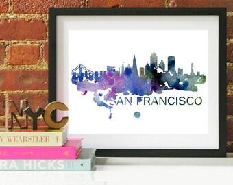 San Francisco Watercolor Skyline, San Francisco Skyline, San Francisco Art, San Francisco Poster, San Francisco Print, San Francisco Art