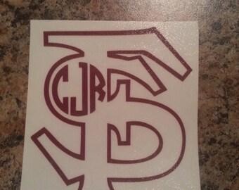 Florida State Monogram Sticker~ Florida Seminoles  ~ Custom ~ Vinyl ~ Decal ~ Sticker State ~FSU