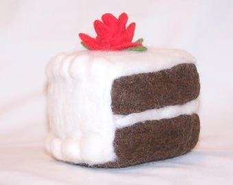 Needle Felted Food - Piece of Chocolate Cake with Red Rose - Soft Sculpture - Home Decor - Piece of Cake - Felt Dessert