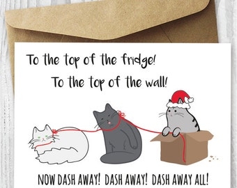 Funny Holiday Card, Printable Christmas Cards, Funny Cats Christmas Cards, Santa Paws Cat Card DIY, Funny Christmas Card Digital Downloads