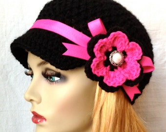 Crochet Newsboy, Hat, Black, Ribbon, Flower, Hot Pink, Pearl Button, Gifts for Her, Birthday Gifts JE148NFR8