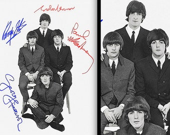 """BEATLES : Live At The Budokan, Tokyo • POSTER Print REPLICA 1960s • With Digital Autographs • On 16x20"""" Sturdy, High Quality Photo Paper !!!"""