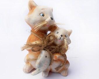 Vintage Cat Décor , clay cat family figurine, cat collection, cat Collectible, cat Décor, cat Home  Decor