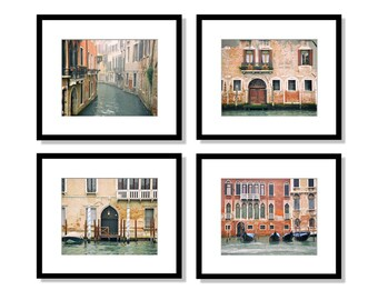 SALE, Venice Italy, Print Set, Venice Photography, Europe Decor, gondola, canal, travel, architecture, teal, brown, red, Wall Art, Set of 4
