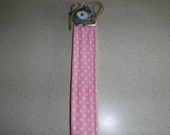 Pink with White Polk-A-Dots Key Fob, Key Chain, Key Lanyard