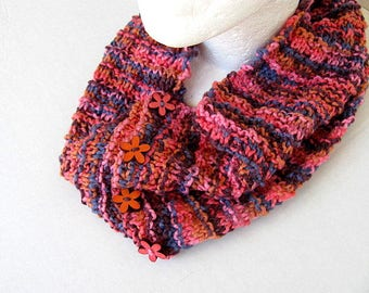 Flower Button Cowl Free US Shipping