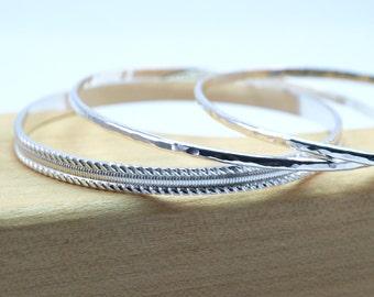 Solid Silver Bangle Bracelets, Hammered Silver Stacking Bangles, Sterling Bangle Bracelet, Handmade Bangle Stacking Bracelets, Made to Order