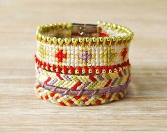 Cuff Brazilian yellow white red green purple hippie Brasilda Paola multi strand bracelet