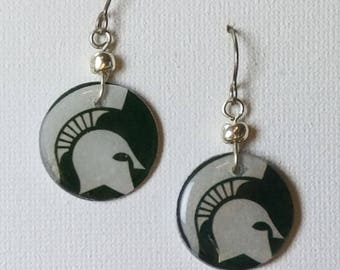 Michigan State earrings, Michigan State jewelry, Spartans, Big 10, school spirit jewelry