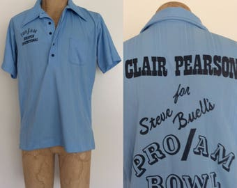 1970's Polyester Blue Bowling Tee Vintage Men's Shirt Size Large by Maeberry Vintage