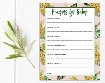 Prayers for Baby Printable, Baby Shower Games, Printables, Tropical Baby Shower, Pineapple, Palm Leaf