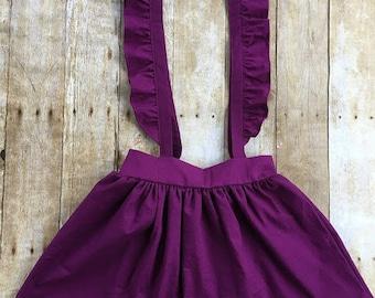 Ruffle Suspender Skirt, Suspender Skirt, Skirt, Toddler Skirt, Girls Skirt