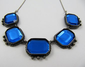 """Vintage 925 Sterling Silver 17"""" Necklace Set with Transparent Blue Acrylic Rectangular Cabochons"""