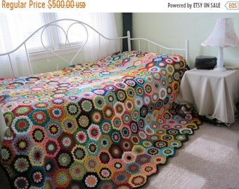ON SALE - 10% OFF Granny Square Crochet Queen size  Afghan