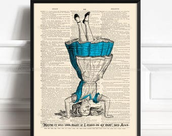 Alice in Wonderland Decorations Mad Tea Party Kids Room Decor Gift Art Print on Antique Book Pages Dictionary Page Upcycled Recycled Art 173