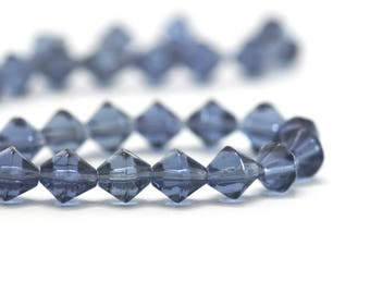 1 strand of 50 ± shape top - 7 x 6 mm - color blue faceted glass beads