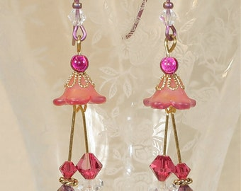 Pink and Fuchsia Tulip Earrings