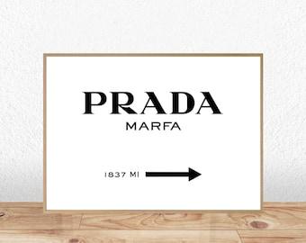 Prada Marfa Print, Prada Marfa, Prada Marfa Printable, Prada Marfa Poster, Gossip Girl, Fashion Print, Fashion Typography, Prada Marfa Sign
