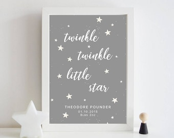 Framed A3/A4 Twinkle, Twinkle Nursery Print, Home decor, Birth details.