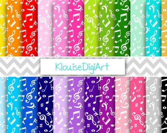 Rainbow and Pastel Music Notes Digital Printable Papers for Personal and Commercial Use (0041)