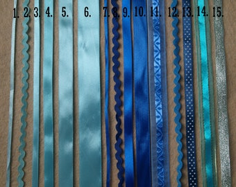 1m Blue Satin Ribbon Ric Rac Royal Navy Baby Shower Christening Gift Wrap Craft UK