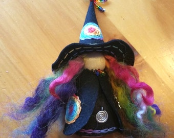 Rainbow Witch Peg Doll with Rainbow Hair,  Ready to Ship, Waldorf Wooden Peg Doll, Handmade Miniature, Art Doll,