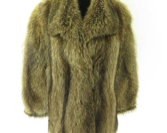 Vintage 70s Real Raccoon Fur Coat Jacket Womens M Dasco Clasp Plush Furry [H45V_3-2_Fur]