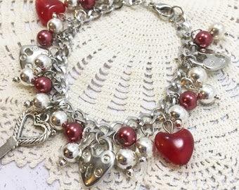 Lock Key Heart Bracelet, Lock Bracelet, Key Bracelet, Red Heart Bead Bracelet, Charm Bracelet, Lock Key Bracelet, Heart Charm Bracelet