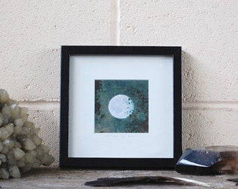 Any Image Framed, 4 x 4 inches (10 x 10cm) photograph in 7 x 7 (18 x 18 cm) black frame, moon art, lunar photo,