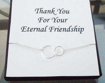 Double circle Infinity Link Sterling Silver Necklace ~~Personalized Jewelry Card for Friend, Sister, Sister in Law, Bridal Party, Graduation