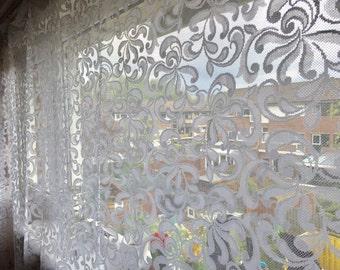 Psychedelic net retro vitrage uit de seventies  decor vintage netting see through curtains flower power design