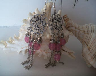 Pink glass, silver chandelier earring, filigree flower