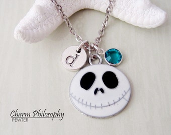 Jack Skellington Necklace - Nightmare Before Christmas Jewelry -  Monogram Personalized Initial and Birthstone
