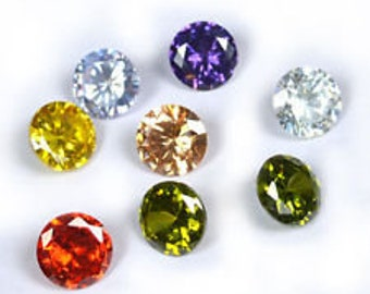 Wholesale,  Cubic Zirconia (CZ), 2-12mm Round Diamond Cut, Pink, Yellow, Lavender, Purple, Red, Tanzanite, or Champagne Color