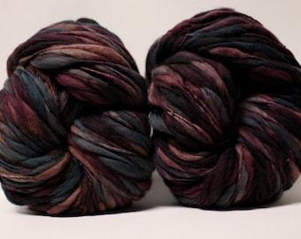 Merino Thick and Thin Yarn Hand Spun Wool Bulky Wool Slub  Hand Dyed tts(tm) Self-Striping xxLR1704