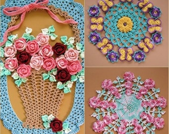PDF Crochet Pattern- More Vintage Floral Doilies- Five Different Designs