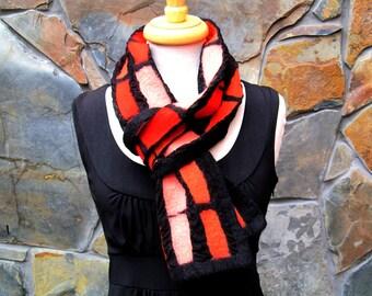Nuno felt scarf, linear design in shades of orange