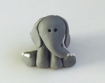 Fondant Elephant topper, elephant cake topper baby shower, elephant baby shower, elephant decor