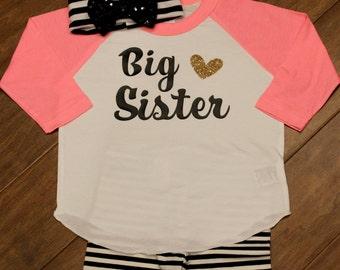 Big Sister Shirt, Big Sister, Big Sister Raglan Shirt, Big Sister, New Baby Announcement, Big Sister raglan Shirt, Big Sister Shirt