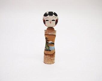 Japanese Vintage Kokeshi Doll Lovely Mordern Wood Kokeshi Doll japanese wooden kokeshi
