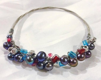Guitar String Bangle with Potato Pearl, Metal and Colored Bead accents