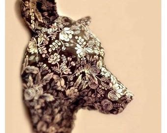 Beauty Bear |  Animal Head Paper Art Wallpaper Sculpture