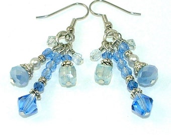 GRANDES DÉMARQUES - saphir élégant pompon en cristal boucles d'oreilles pendantes - Bleu Denim clair